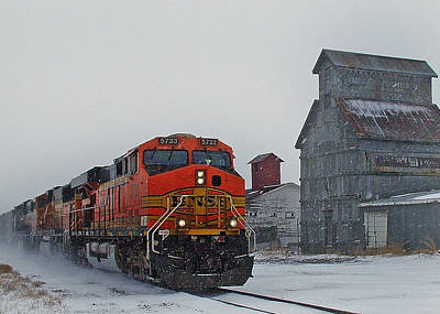 Transportation Royalty-Free and Rights-Managed Images - Northbound Winter Coal Drag by Ken Smith