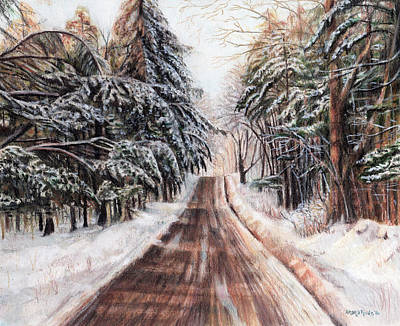 Maine Roads Drawing - Northeast Winter by Shana Rowe Jackson