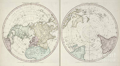 Photograph - Northern And Southern Hemispheres Map By William Fadden 1783 by Rick Bures
