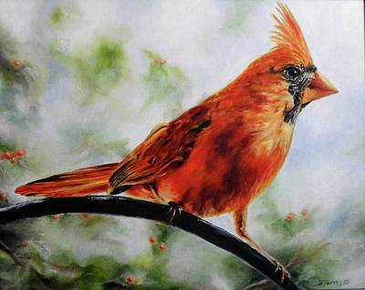 Painting - Winter Cardinal by Steve James