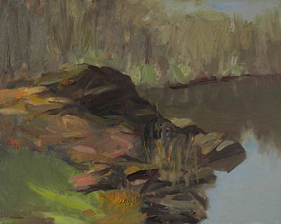 Painting -  Central Park Rocks by Robert Holden