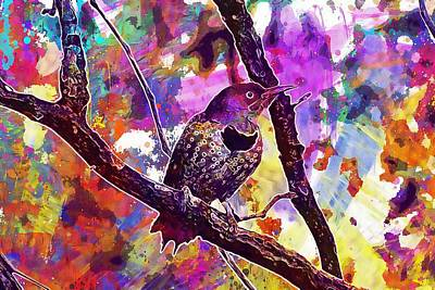 Digital Art - Northern Flicker Bird Perched  by PixBreak Art