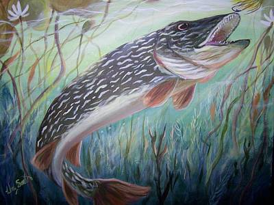 Northern Pike Fish Painting - Northern In The Pads by Wendy Smith