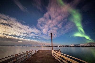 Photograph - Northern Light Bridge by Sebastian Worm