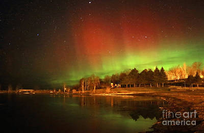 Photograph - Northern Light Lit Landscape by Charline Xia