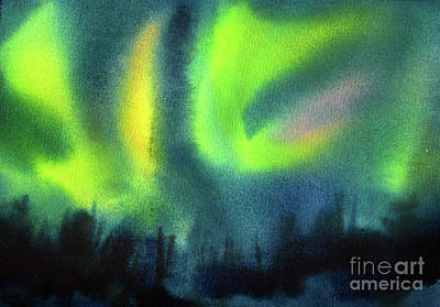 Outer Space Abstract Painting - Northern Lights 3 by Kathy Braud