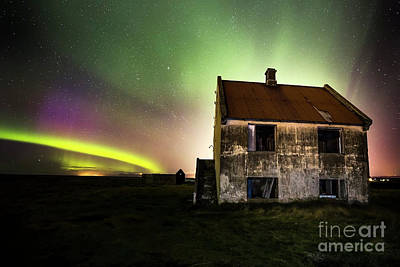 Photograph - Northern Lights And A Old Hause by Gunnar Orn Arnason