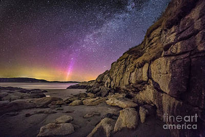 Popham Beach Photograph - Northern Lights And Milky Way At The Cliffs On The Island Off Po by Benjamin Williamson