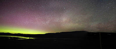 Photograph - Northern Lights And Milky Way In Yellowstone Np by Jean Clark