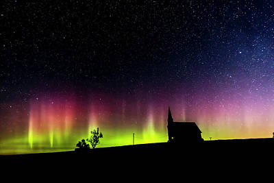 Northern Lights And Old Church Original