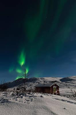 Northern Lights As A Person Art Print by Roger Johansen