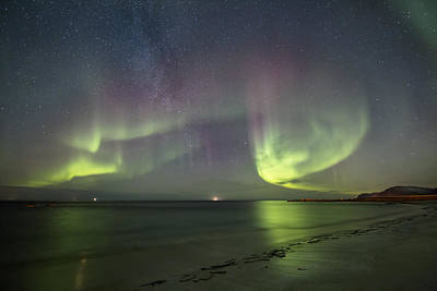 Northern Lights Photograph - Northern Lights At The Beach II by Frank Olsen