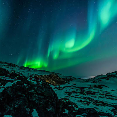 Green Color Photograph - Northern Lights by Britten Adams