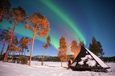 Campfire Photograph - Northern Lights By The Lake by Delphimages Photo Creations