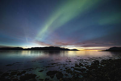 Northern Lights Photograph - Northern Lights Meet Sunset by Frank Olsen