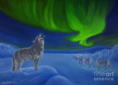 Winter Night Painting - Northern Lights Night by Veikko Suikkanen