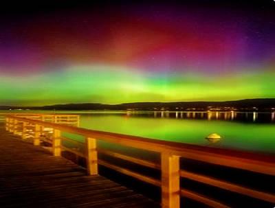 Digital Art - Northern Lights Over Okanagan Lake Canada by Rod Jellison