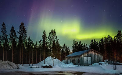 Photograph - Northern Lights Sapmi Shed Karasjok Norway by Adam Rainoff
