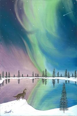 Northern Lights The Wolf And The Comet  Art Print by Jackie Novak