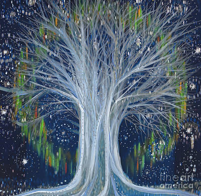 Mixed Media - Northern Lights Tree By Jrr by First Star Art
