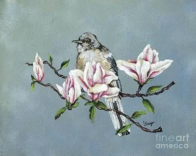 Northern Mockingbird And Magnolias - Acrylic Painting Original