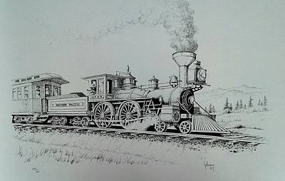 Drawing - Northern Pacific Centennial Gold Creek Montana by Kevin Heaney