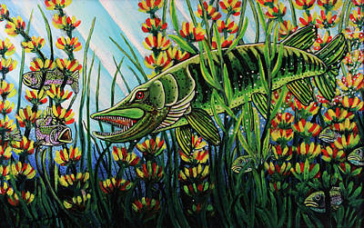Northern Pike Fish Painting - Northern Pike by Bob Crawford