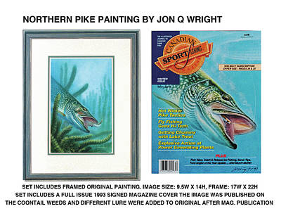 Fishing Painting - Northern Pike Original by Jon Q Wright