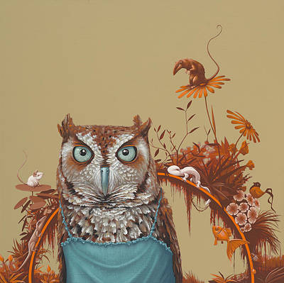 Autumn Art Painting - Northern Screech Owl by Jasper Oostland