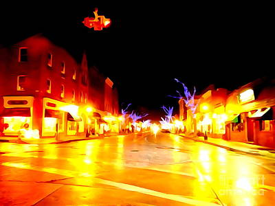 Digital Art - Northport Village Christmas Night 2015 by Ed Weidman