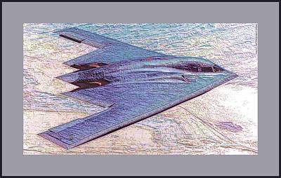Northrop Grumman B-2 Spirit Stealth Bomber Enhanced With Double Border II Art Print by L Brown