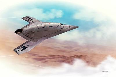 Digital Art - Northrop Grumman X47b Drone by John Wills