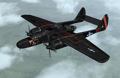Art Print featuring the digital art Northrop P-61 Black Widow by Walter Colvin