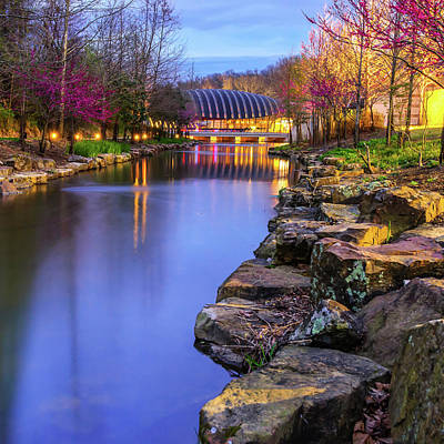 Photograph - Northwest Arkansas Crystal Bridges Museum At Dusk - Square Format by Gregory Ballos
