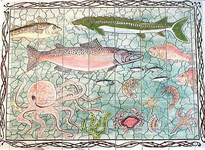 Ceramic Fish Painting - Northwest Fish Mural by Dy Witt