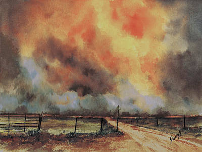Painting - Northwest Oklahoma Wildfire by Sam Sidders