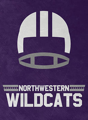 Ncaa Mixed Media - Northwestern Wildcats Vintage Football Art by Joe Hamilton
