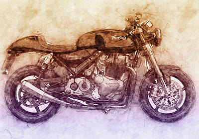 Mixed Media Rights Managed Images - Norton Commando 2 - Norton-Villiers Motorcycle - 1967 - Motorcycle Poster - Automotive Art Royalty-Free Image by Studio Grafiikka