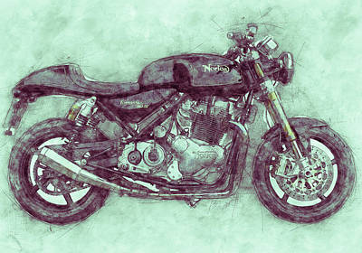 Mixed Media Rights Managed Images - Norton Commando 3 - Norton-Villiers Motorcycle - 1967 - Motorcycle Poster - Automotive Art Royalty-Free Image by Studio Grafiikka