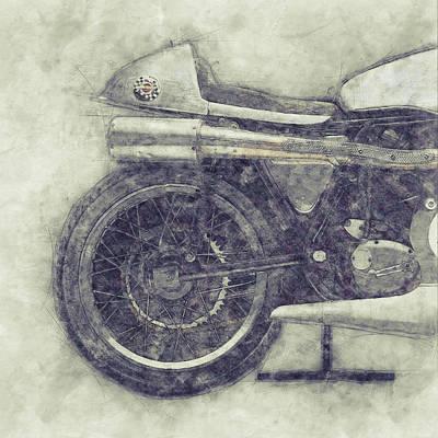 Mixed Media - Norton Manx 1 - Norton Motorcycles - 1947 - Vintage Motorcycle Poster - Automotive Art by Studio Grafiikka