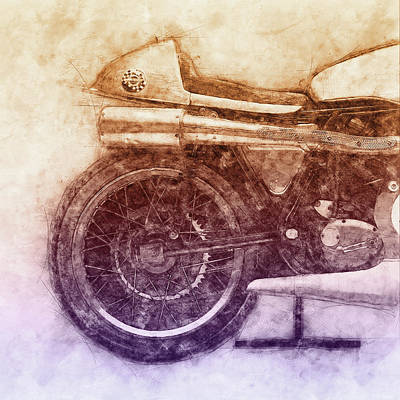 Mixed Media - Norton Manx 2 - Norton Motorcycles - 1947 - Vintage Motorcycle Poster - Automotive Art by Studio Grafiikka