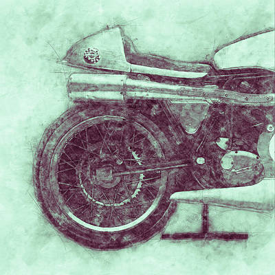 Royalty-Free and Rights-Managed Images - Norton Manx 3 - Norton Motorcycles - 1947 - Vintage Motorcycle Poster - Automotive Art by Studio Grafiikka