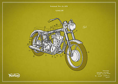 Norton Motorcycle Patent 1970 Original