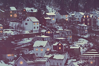 Photograph - Norway, Beautiful City Covered With Snow by Anna Om