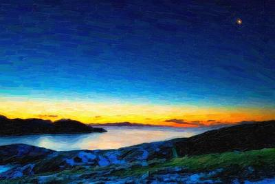 Landscapes Painting - Norway Coast At Dusk Ca 2017 By Adam Asar by Adam Asar