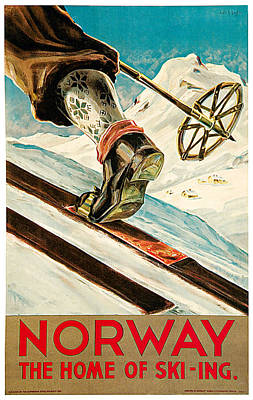 Skiing Poster Painting - Norway by Dagtin Th Hanssen