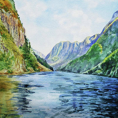 Painting - Norway Fjord Watercolor Landscape by Irina Sztukowski