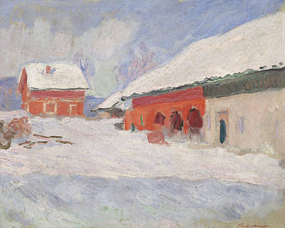 Nordic Painting - Norway, Red Houses At Bjornegaard, 1895 by Claude Monet