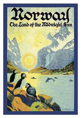Puffin Digital Art - Norway The Land Of The Midnight Sun Vintage World Travel Poster by Retro Graphics