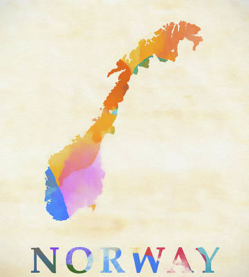 Painting - Norway Watercolor Map by Dan Sproul
